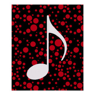 music note & dots poster
