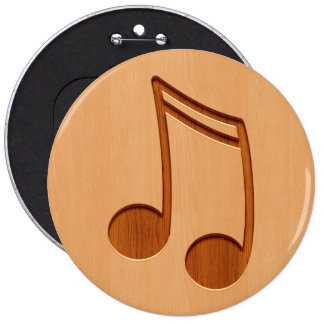 Music note engraved on wood design 6 cm round badge