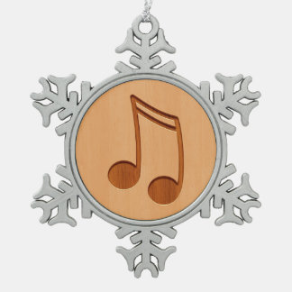 Music note engraved on wood design pewter snowflake decoration