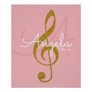 music note (golden treble clef), monogram poster