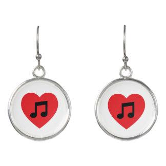 Music Note Heart Drop Earrings