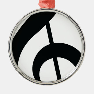 Music Note Silver-Colored Round Decoration