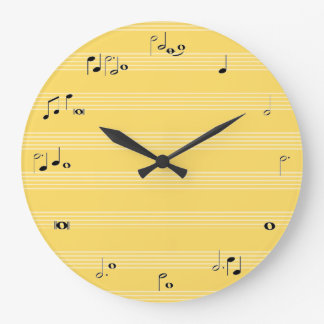 Music note time clock - yellow