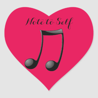 Music - Note to Self Heart Sticker