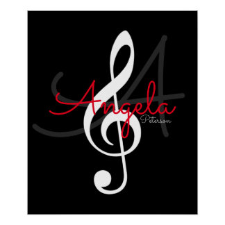 music note (treble clef) with name and initial poster
