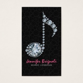 Music Note White Diamonds Over Black Business Card