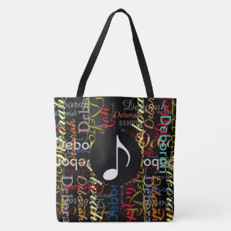 music note with a pattern of colorful names on blk tote bag