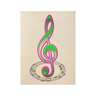 Music Note Wood Poster