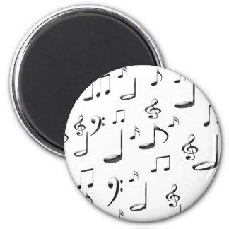 MUSIC NOTES 6 CM ROUND MAGNET