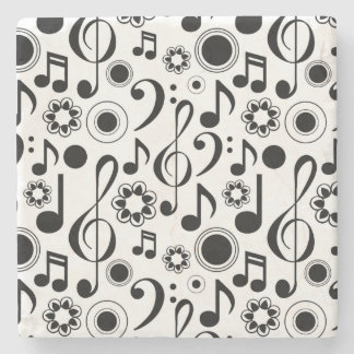 Music Notes and Clefs Stone Beverage Coaster