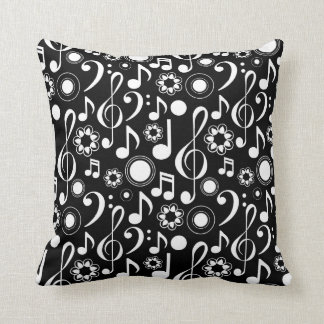 Music Notes and Clefs - White on Black Cushion