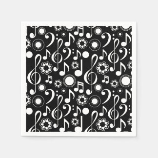 Music Notes and Clefs - White on Black Paper Napkin