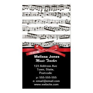 Music notes and faux red ribbon bow business card templates