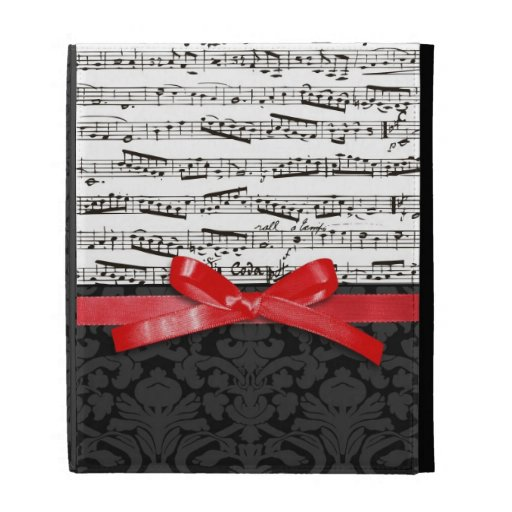 Music notes and faux red ribbon iPad folio cover