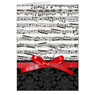 Music notes and faux red ribbon greeting card