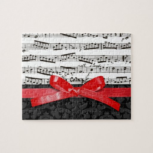 Music notes and faux red ribbon puzzle