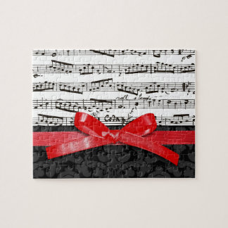 Music notes and faux red ribbon puzzles
