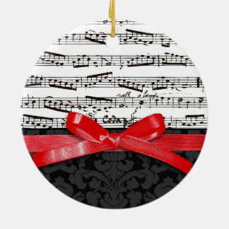 Music notes and faux red ribbon round ceramic decoration