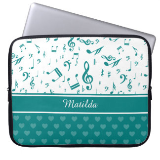 Music Notes and Hearts Pattern Teal and White Computer Sleeves