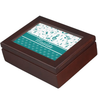Music Notes and Hearts Pattern Teal and White Keepsake Box