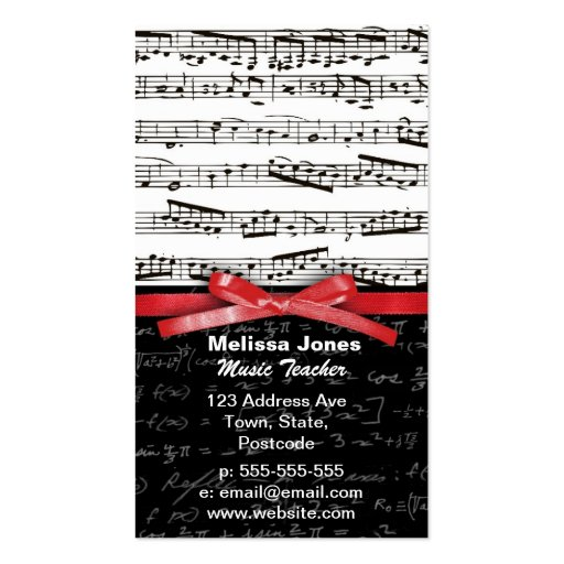 Create your own mathematical teacher business cards music notes and math equations business card templates reheart Gallery