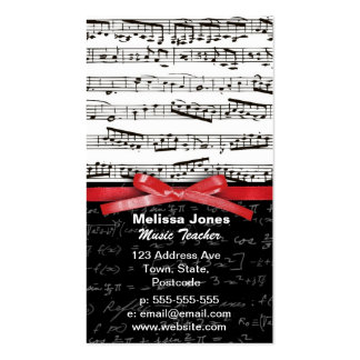 Music notes and math equations business card templates