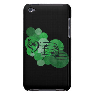 Music notes and polka dots bright green ipod case