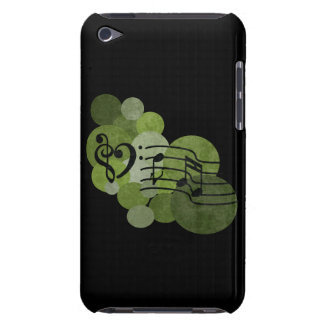 Music notes and polka dots olive green ipod case barely there iPod case