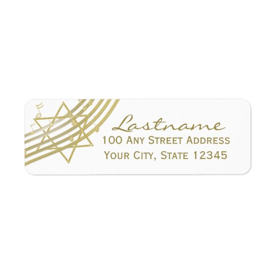 Music Notes and Star of David Return Address Label