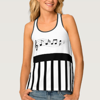 Music Notes and Stripes Tank Top