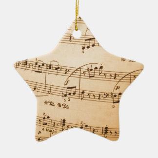 Music Notes Background Ceramic Star Decoration