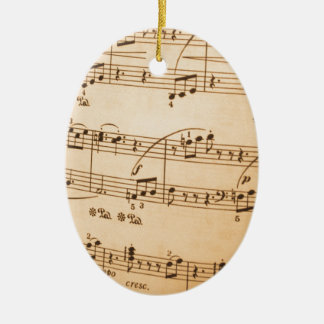 Music Notes Background Ceramic Oval Decoration