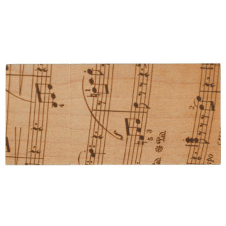 Music Notes Background Wood USB 2.0 Flash Drive