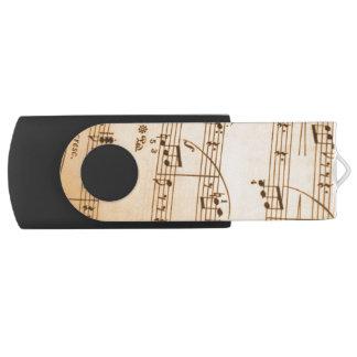 Music Notes Background Swivel USB 2.0 Flash Drive