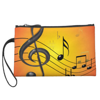 Music Notes Bagettes Bag Wristlet