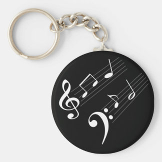 Music Notes Basic Round Button Key Ring