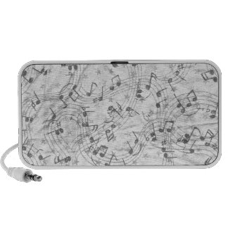 Music Notes Black and White iPod Speakers