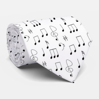 Music Notes Black and White Tie