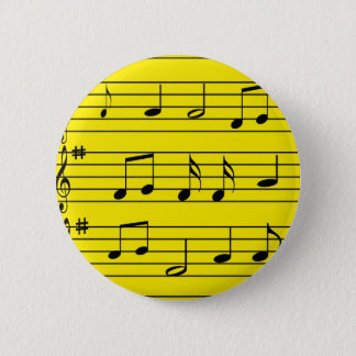Music Notes - Black on Yellow 6 Cm Round Badge