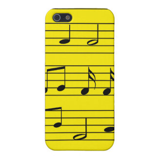 Music Notes - Black on Yellow iPhone 5 Case