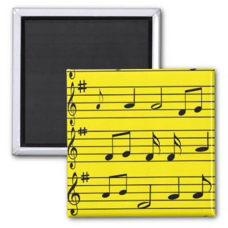 Music Notes - Black on Yellow Magnet