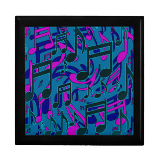 Music Notes Blue Green Purple Lively Pattern Gift Box