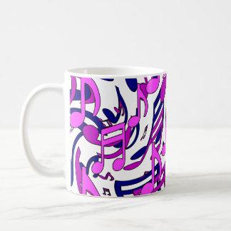 Music Notes Bold Swirly Pattern Pink Blue Purple Basic White Mug