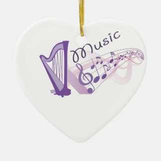 Music notes ceramic heart decoration