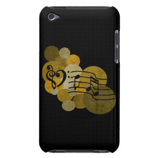 Music notes clef heart + polka dots gold ipod case iPod Case-Mate case