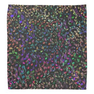 Music Notes Dark Rainbow Tapestry Bandana