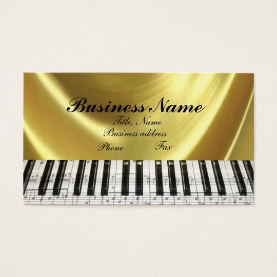 Music Notes Gold Piano Keyboard Business Card