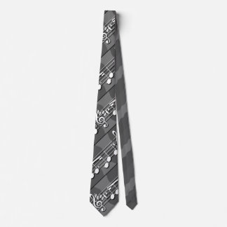 Music Notes Gray Tie