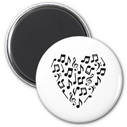 Music Notes Heart Magnet (Black)