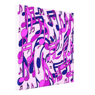 Music Notes Lively Pattern Blue Pink Purple Canvas Prints